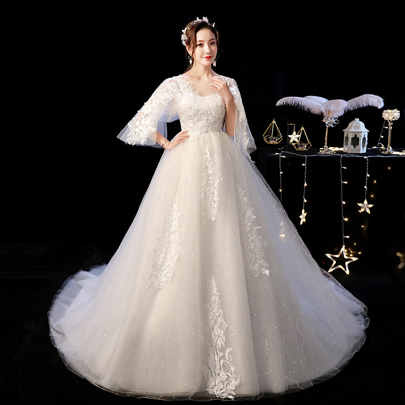 Wedding Dress 2019 Mrs Win The Elelgnat Court Train Batwing Sleeve Wedding Dresses Plus Size Lace Wedding Gowns F