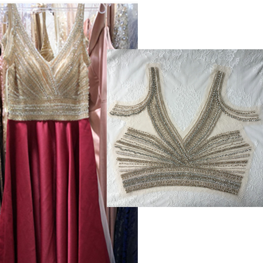 1 Pieces Sewing On Beaded Bling Rhinestone and Crystals Applique for Clothing Wedding Dresses