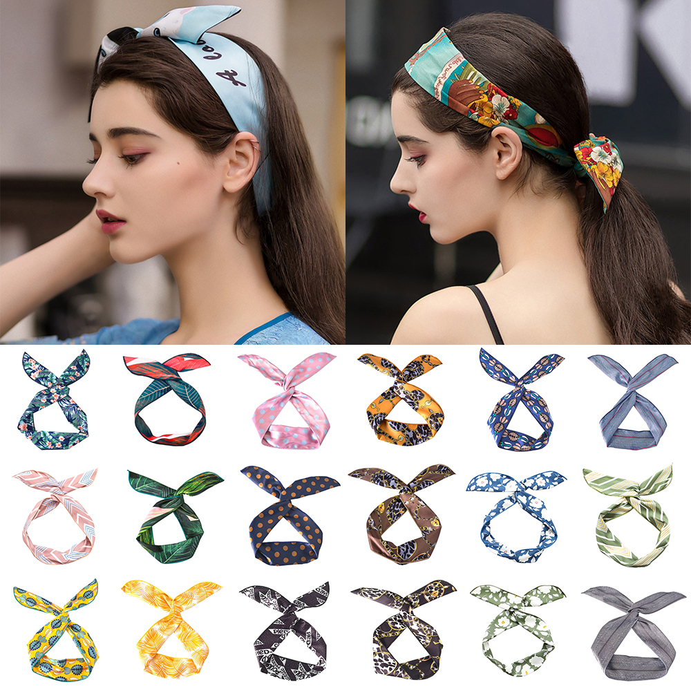 Women New Hair Band Lovely Bunny Ear Ribbon Cross Knotted Hairband Metal Wire Scarf Headband Makeup Washing   Headwear   Accessories