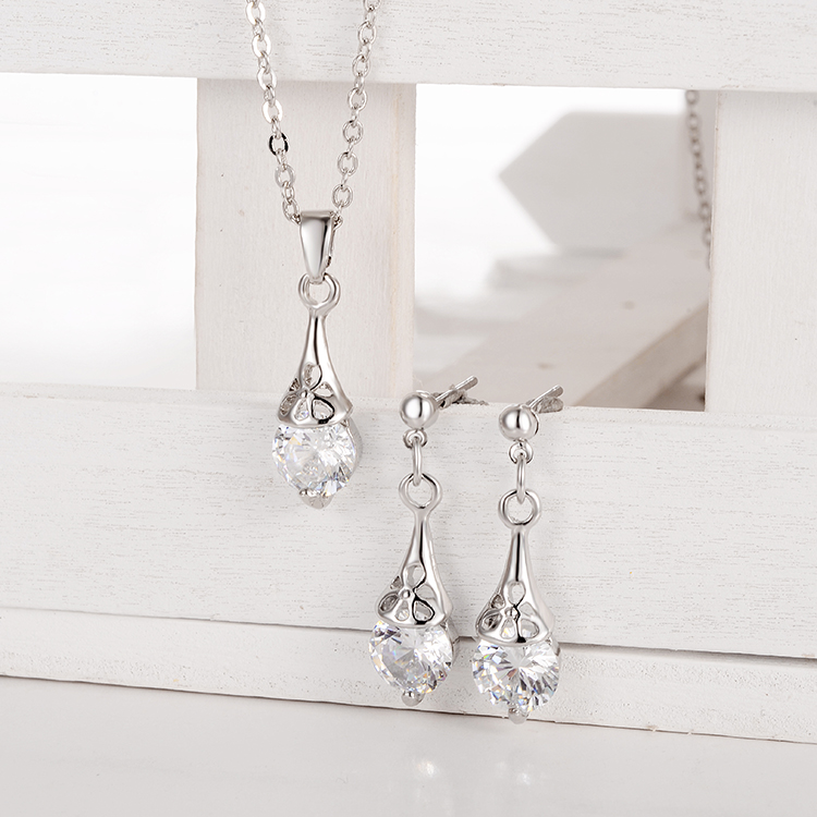 Jewelry-Sets Necklace Drop-Earrings-Sets Wedding Pendant Crystal-Stone Romantic Silver-Plated