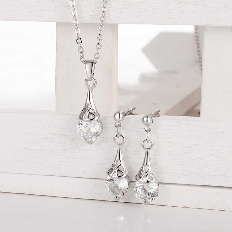 ZOSH Women Romantic Silver Plated Jewelry Sets Clear CZ Crystal Stone Water Drop Pendant Necklace Drop Earrings Sets Wedding