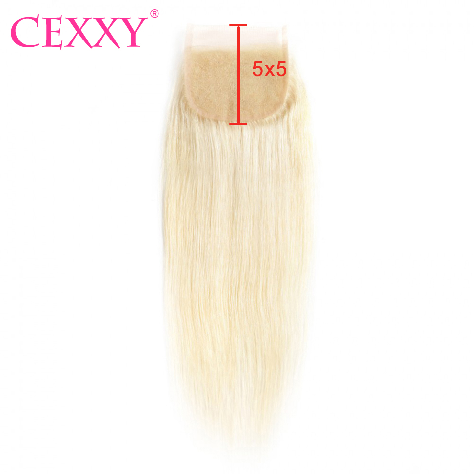Cexxy 5x5 Lace Closure Peruvian Straight 613 Blonde Human Hair Closure Natural Color Swiss Lace Closure