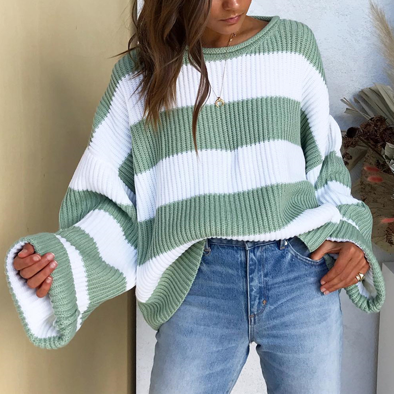 Bellflower Striped Knitted Sweater Women 2019 Autumn O collar Loose Pullovers Sweaters Loose Casual Sweater Tops Femme in Pullovers from Women 39 s Clothing