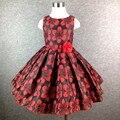 Vestido da menina De Natal do vintage grife meninas padrão de vestidos de festa da menina de flor vestido de high street