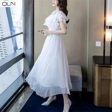 Hepburn retro dress high waist French seaside beach fairy super Vestidos for women