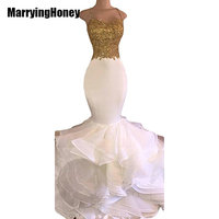Mermaid White And Gold Prom Dresses 2017 Spaghetti Strap Appliques Lace Ruffles Organza Backless Long African