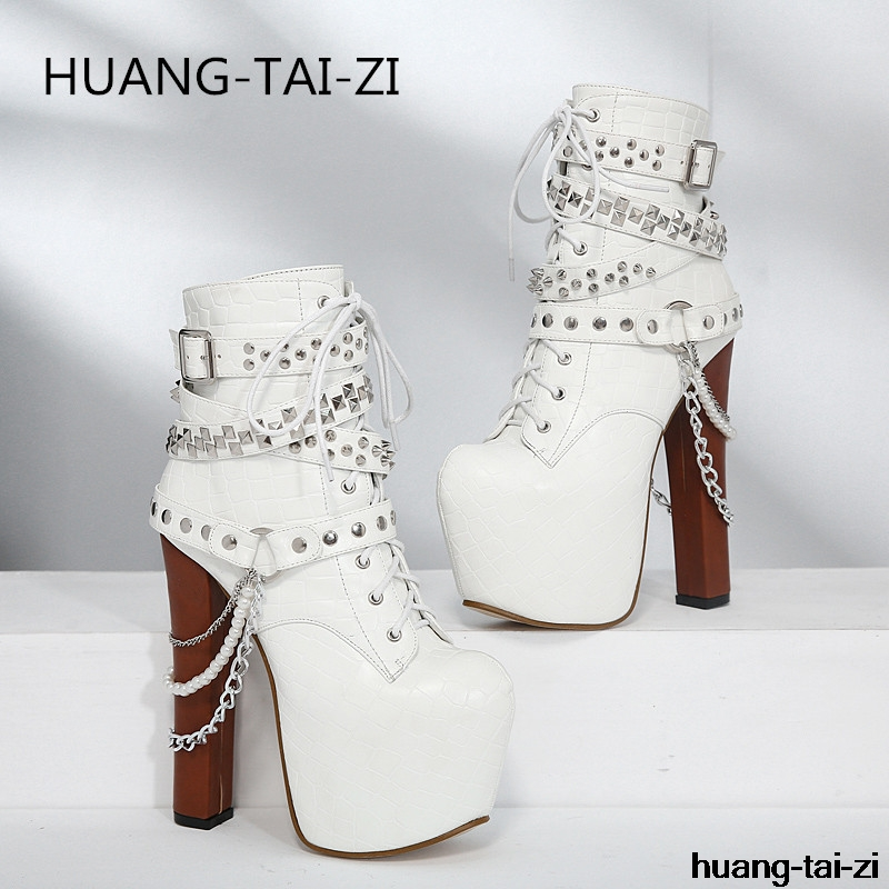 New Sexy Zip Metal Chains Rivet Motorcycle Boots Women Shoes Super High Heels Platform Ankle Boots Punk Rock Gothic Biker Boots apoepo brand shoes punk style rivet ankle boots for women lace up high heels shoes women boots sexy platform shoes with heels