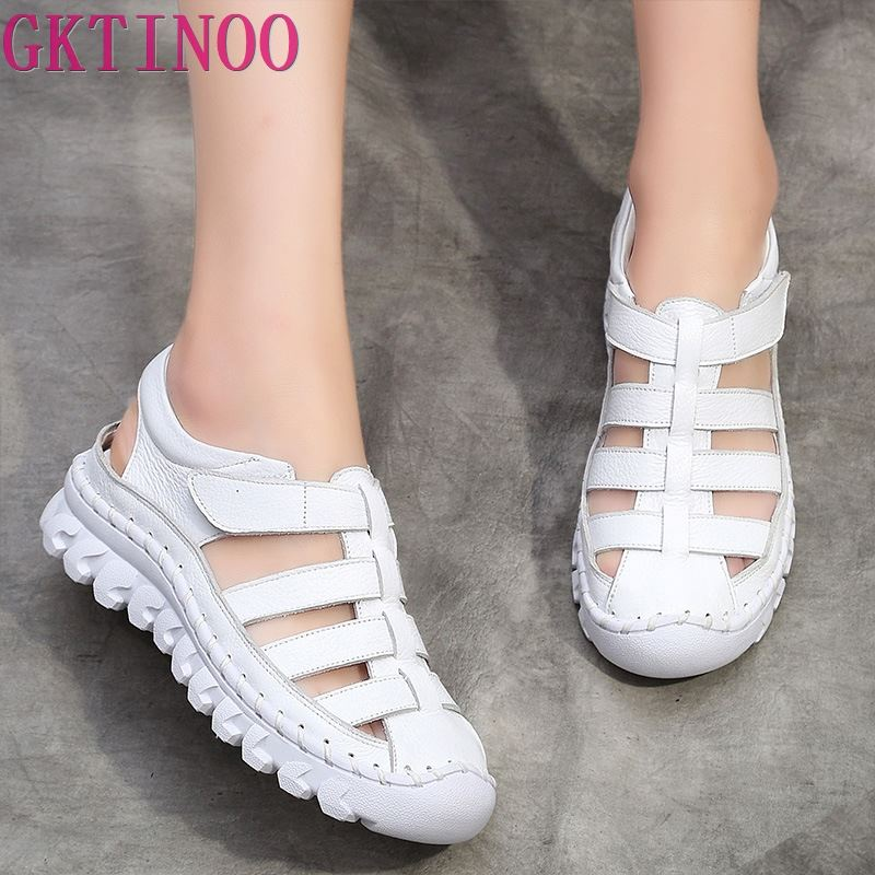 GKTINOO Women Sandals 2019 Summer Shoes Genuine Leather Covered Toe Soft Casual Walking Zapatos Mujer Plataforma