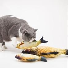 купить Plush Creative 3D Funny Carp Fish Shape Cat Toy Catnip Fish Stuffed Pillow Gift Cute Simulation Fish Playing Toy For Pet Gifts дешево