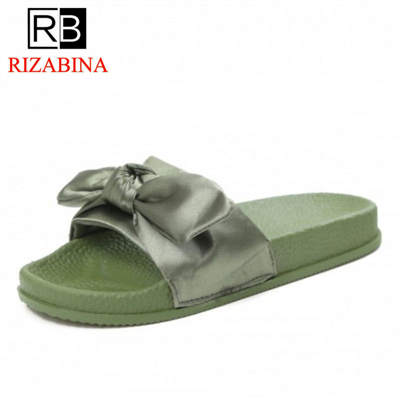 RizaBina Women Slippers Open Toe Bow-Not Ladies Summer Shoes Fashion Vintage Sweet Women Shoes Baech Footwear Size 36-40