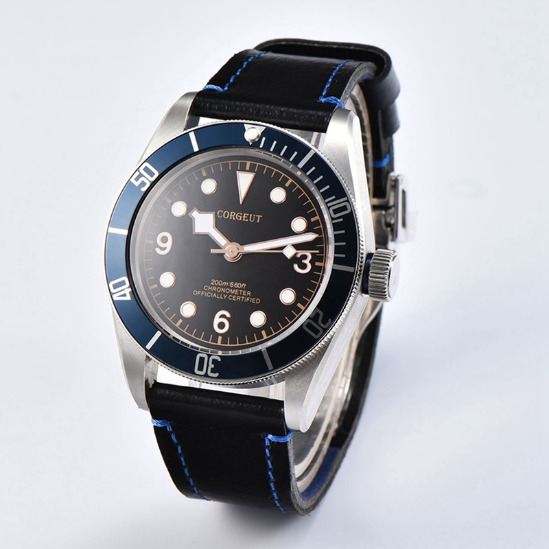 Corgeut 41mm Mens Automatic Watch Blue Roatatable Bezel Mechanical Watches Rosegold Lume Dial Miyota 8215 Movet Clock CA2010BLRCorgeut 41mm Mens Automatic Watch Blue Roatatable Bezel Mechanical Watches Rosegold Lume Dial Miyota 8215 Movet Clock CA2010BLR
