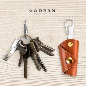 Image 2 - Carteira inteligente de couro legítimo, moderna, 100%, diy, chaveiro, edc, mini, bolso, suporte para chaves, organizador de chave