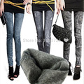 Alta Elástica Outono Inverno Jeans Buraco Plissada Prints Faux Denim Impresso Mais Grossa de Veludo Mulheres Leggings Slim Calças Perna Quente