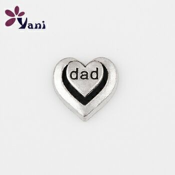 20pcs/lot Newest Silver Heart Charms with Alloy Metal Heart Dad Charms for Floating Locket Charms
