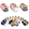 2017 Spring Soft Sole Girl Baby Shoes Cotton First Walkers Baby Bowknot Stripe Rivet Soft Sole Shoes Boy Casual newborn shoes