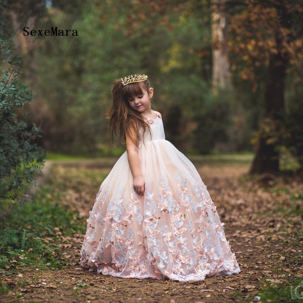 Real Photos Lace 3D Floral Flower Girl Dresses for Wedding Floor Length Butterfly Applique Kids Prom Pageant GownsReal Photos Lace 3D Floral Flower Girl Dresses for Wedding Floor Length Butterfly Applique Kids Prom Pageant Gowns