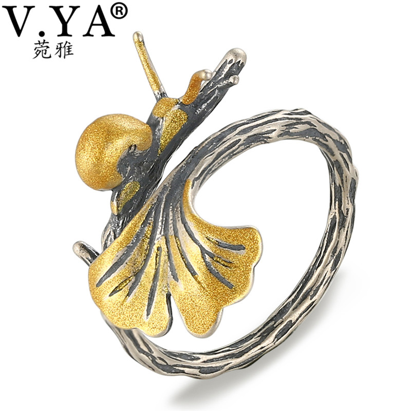 V.YA Unique Animal Snails Leaves Rings Real Pure 925 Sterling Silver Gold Color Open Ring For Women Jewelry Accessories