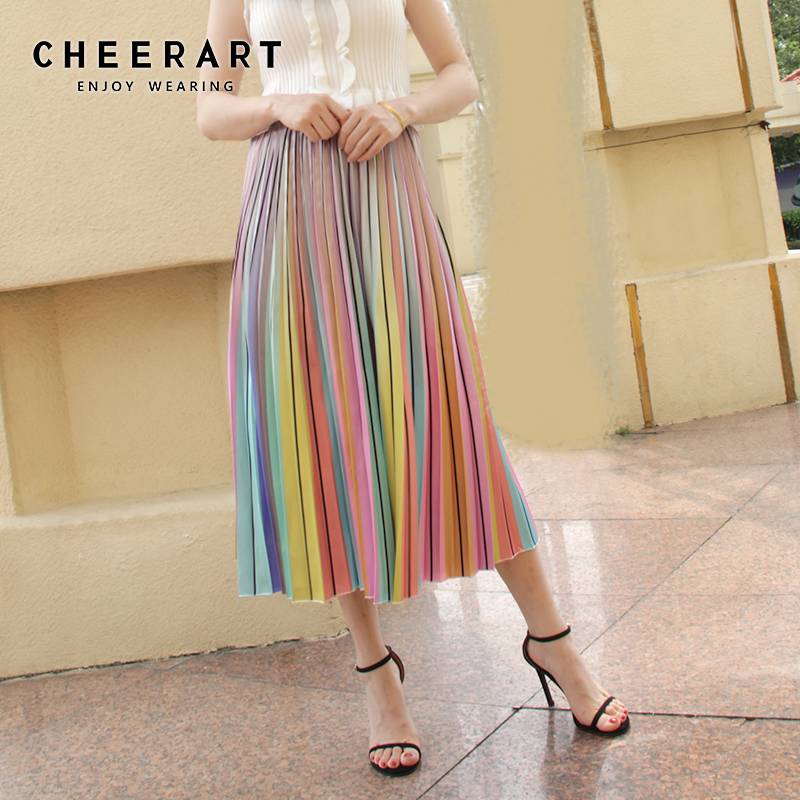 Cheerart Summer Rainbow Skirt Women Pleated Midi Skirt High Waist A Line Striped Long Skirt Korean Clothes 2019