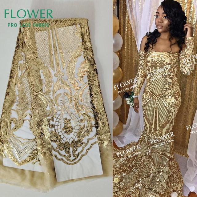 Кружевная ткань с золотыми блестками и вышивкой, 2019, классический дизайн, африканская Гвинея, блестки, свадебные сетчатые платья для выпускного вечера, швейные ткани
