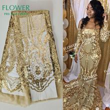 Tissus pour dentelle nets brodés or à paillettes, conception classique, paillettes africaines, robe de mariage, bal, robes, couture 2019