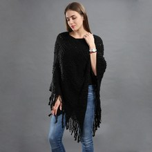 Fashion Woman Pullover Tassel Poncho Knitted Scarf Sweater Shawl Plus Size Solid Oversize