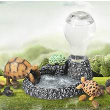 1 Pcs Auto Drinken Fonteinen Schildpad Bassin Hars Water Dispenser Landschapsarchitectuur Decoratie Hagedis Water Feeder Pet Food Bowl(China)