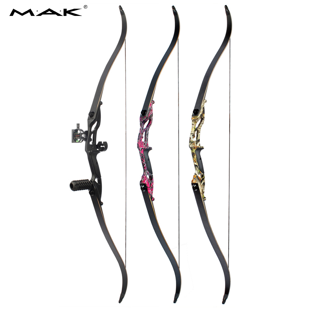 30-50lbs Recurve Bow 56 Inches American Hunting Bow with 17 inches Riser for Traditional Long Bow Archery Hunting 3 color 30 50lbs recurve bow 56 american hunting bow archery with 17 inches metal riser tranditional long bow hunting