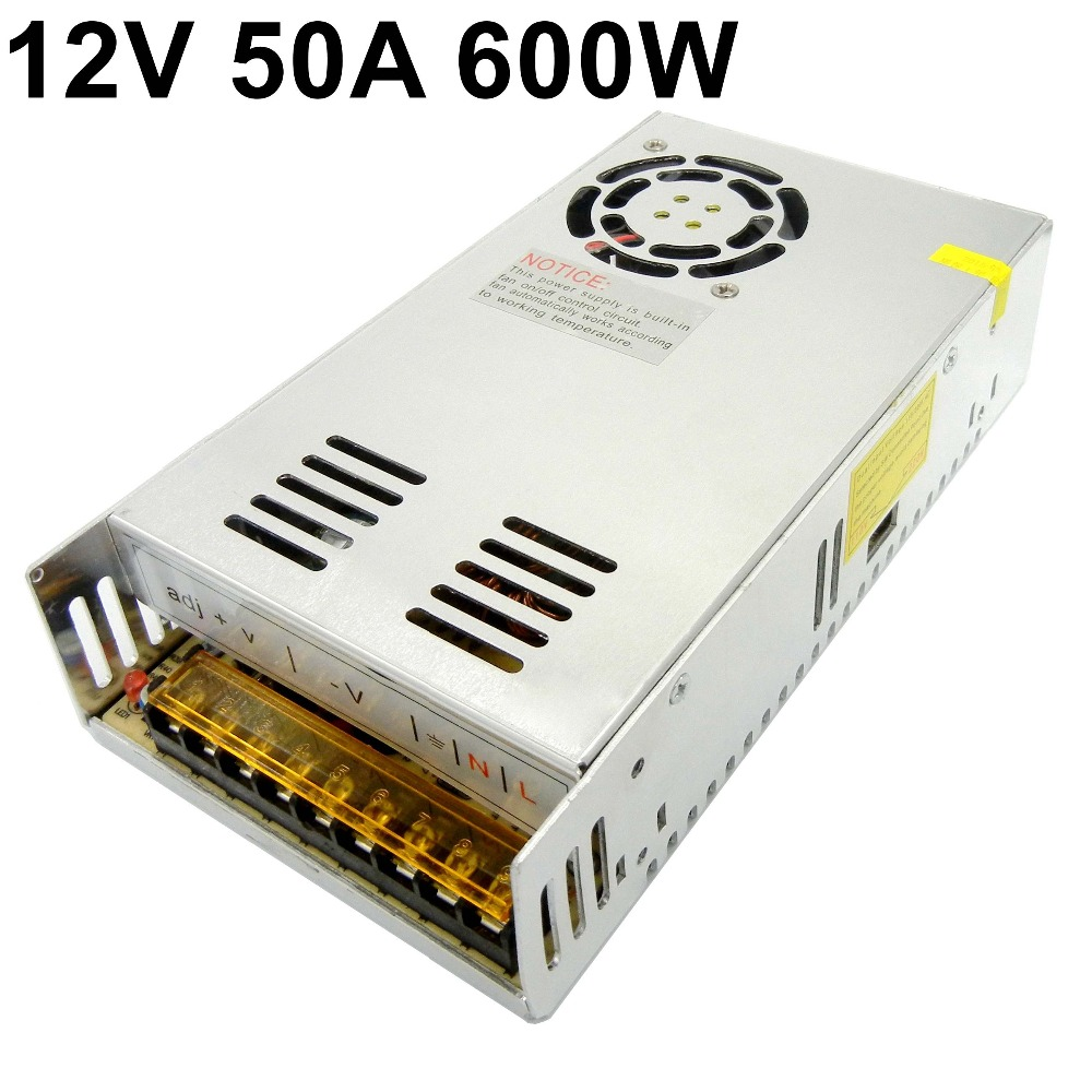 12V 50A 600W switching power supply 110V 220V AC TO DC12V surveillance power adapter for Led strip lamp Light CNC CCTV