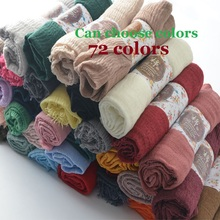 Scarf Viscose Shawl Hijab Wrinkle-Wrap Maxi Cotton Head Muslim Plain Islam Solid Bubble