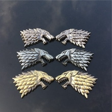 Rhino Tuning Game of Thrones House Stark Direwolf Family Totem Metal Car Badge Emblem Sticker Fit Silverado F-Series Escape
