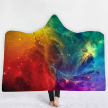 Starry Sky Hooded Blanket For Adults Childs 3D Printed Sherpa Fleece Blanket Wearable Warm Throw Blanket For Home Travel Picnic plaid magic hooded blanket for home travel picnic 3d printed sherpa fleece blanket wearable warm throw blanket for adults childs