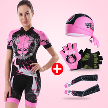 CHEJI Breathable Bike Jersey Short Set Cycling Women Summer Sleeve Bicycle