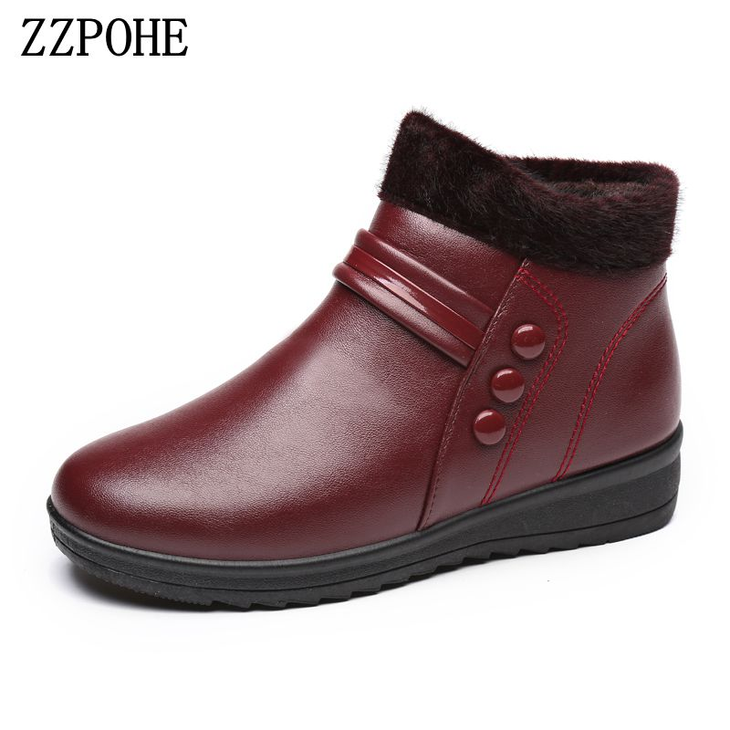 ZZPOHEwinter mother cotton shoes waterproof plus warm