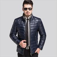 Winter 2016 New Men Sheep Leather Jacket High Quality Collar Down Warm Dust Coat Middle Aged