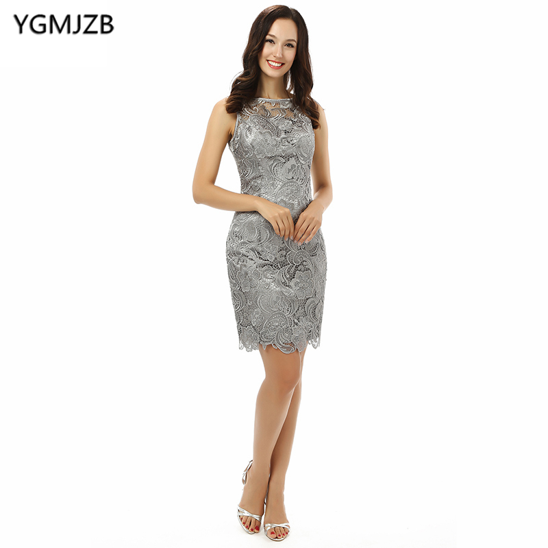 US $62.37 37% OFF|Plus Size Silver 2018 Mother Of The Bride Dresses Sheath  Sheer Scoop Knee Length Lace Evening Dress Mother Dress For Weddings-in ...