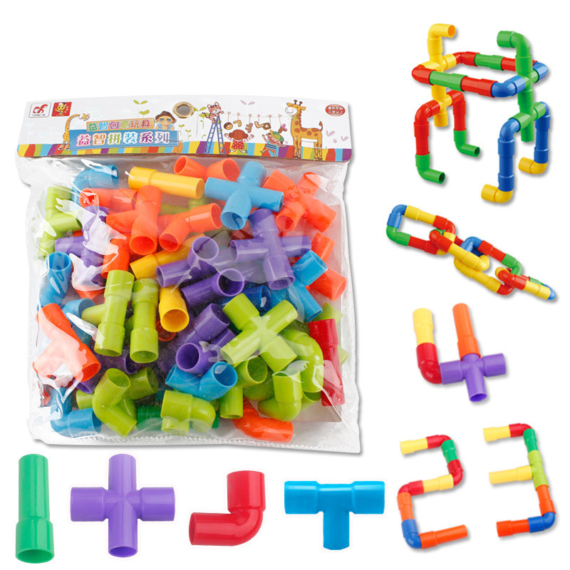 2018 Colorful Educational Water Pipe Building Blocks Toys For Children DIY Assembling Pipeline Tunnel Bricks Model Toy For Kids