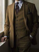 2018 Новое поступление коричневый твид костюм Для мужчин Slim Fit Зима Формальные куртки хаки Для мужчин пиджак для жениха брак смокинг Terno 3 пред
