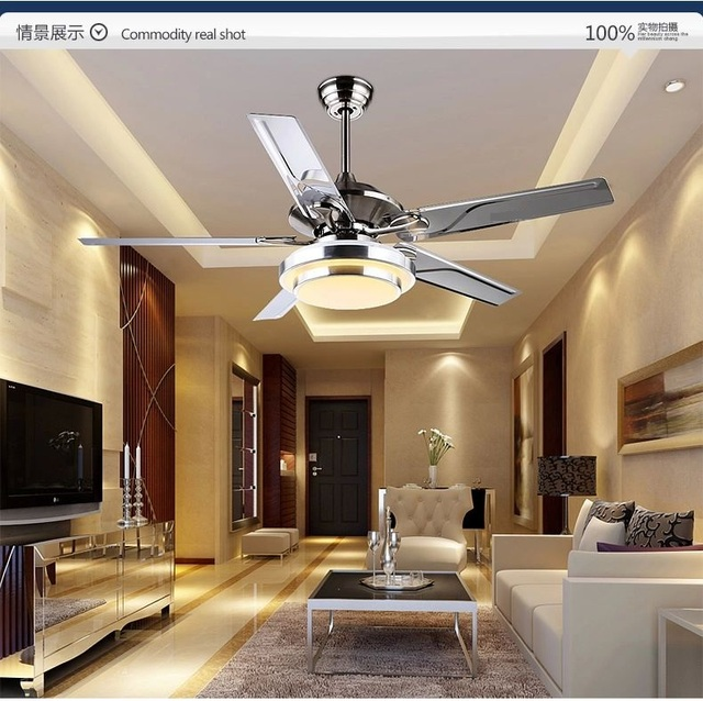 Remote control fan ceiling lamp living room restaurant stainless steel LED European modern minimalist lamp ceiling fans 42inch