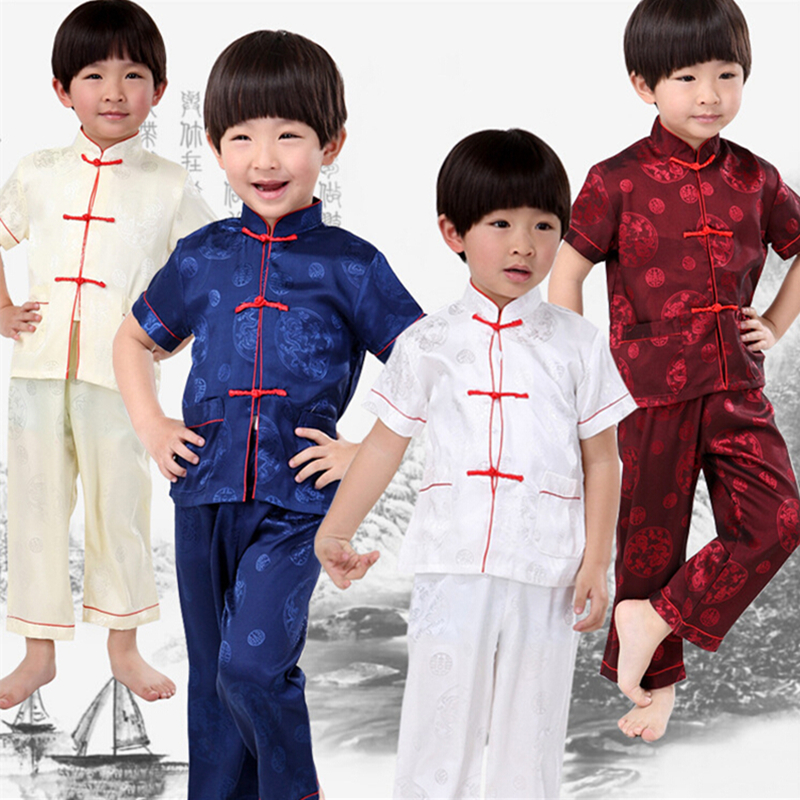 2018 4 Colors New High Quality Children Kungfu Short Suits Chinese Stand-collar Tang Suit Kid Uniform Summer Performance Suits