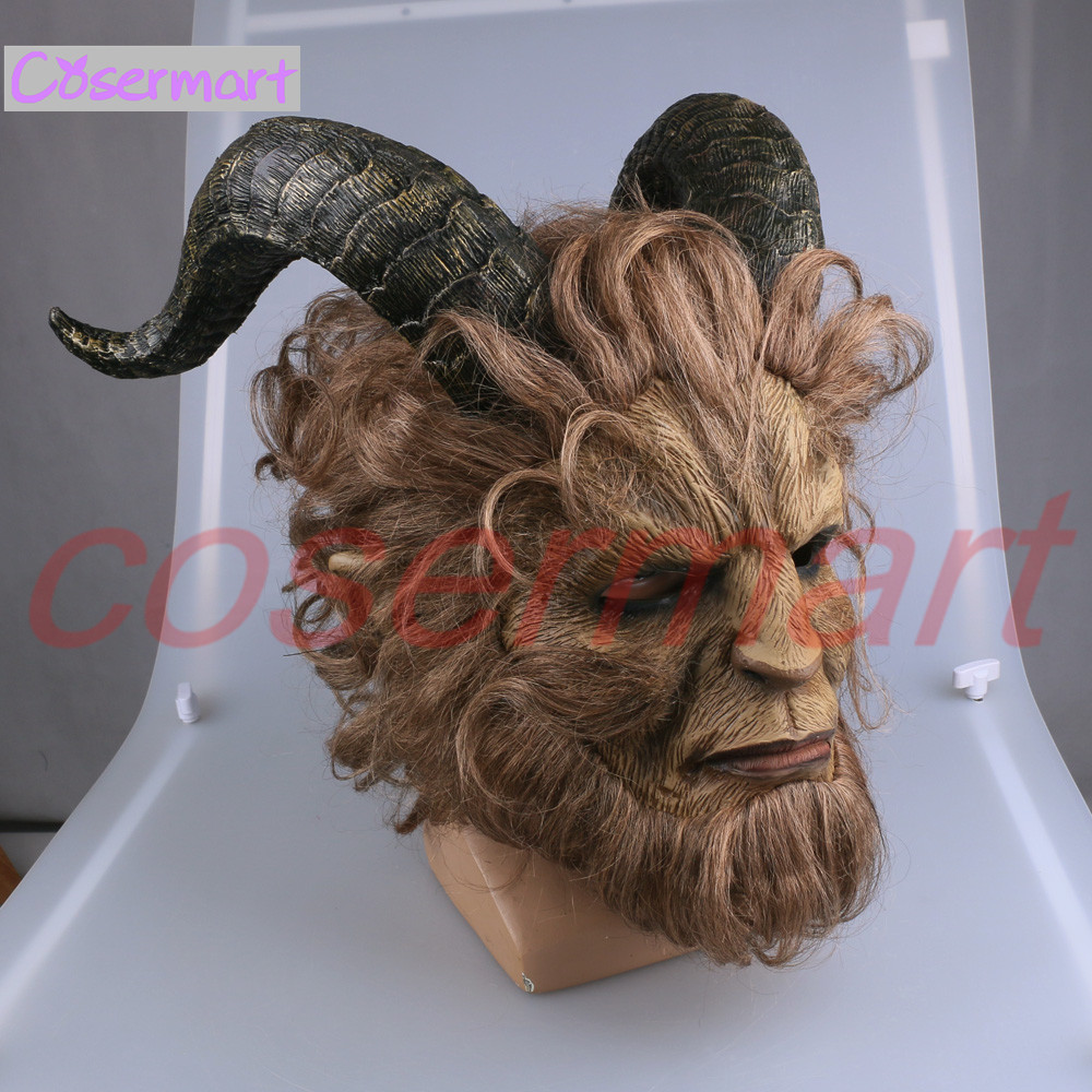 2017 Hot Movie Beauty and the Beast Adam Prince Mask Cosplay Horror Mask Latex Lion Helmet Halloween Party (9)