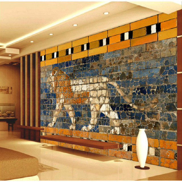 3D Brick Wall Painted Lion Painting A Large Mural Wallpaper Bedroom Living Room TV Backdrop
