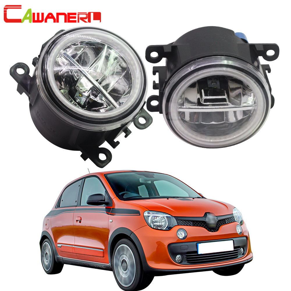Cawanerl For Renault Twingo II Hatchback CN0 2007 2015 Car 4000LM LED Bulb Fog Light Angel