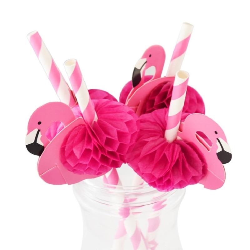5/10pcs cute 3D Flamingo Paper Straw Hawaiian Wedding Birthday Party Juice Cocktail Drinking Straws Party DIY Decor