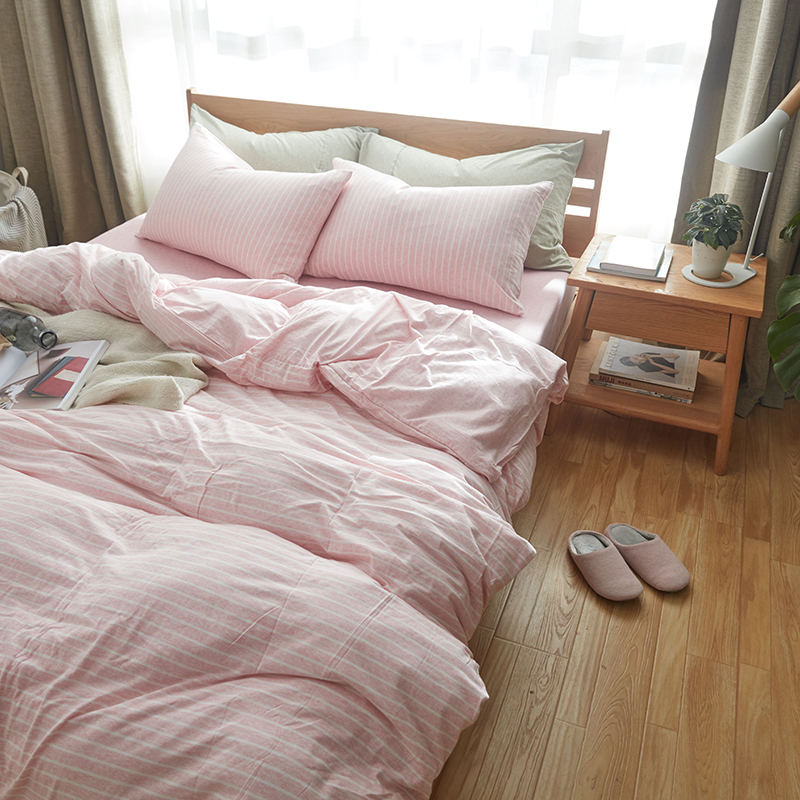 Lovely 100% Cotton Muji Style Bed Cover Set 4pcs Super Soft Jersey Knit Bedding  Sets King Size Sweet Pink White Stripe Blanket Cover In Bedding Sets From  Home ...