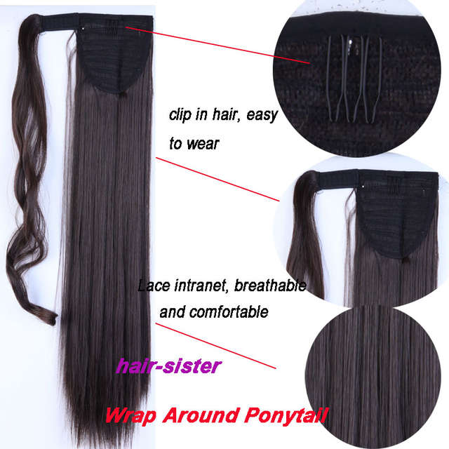placeholder S-noilite Fake Hair Ponytail Long Straight Hair Pieces Synthetic  Hair 125g 22-26 fa6502b72d00