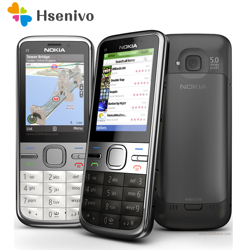 C5 Original Unlocked Nokia C5 00 cell phone GSM 3G 3 15MP Camera FM GPS Bluetooth