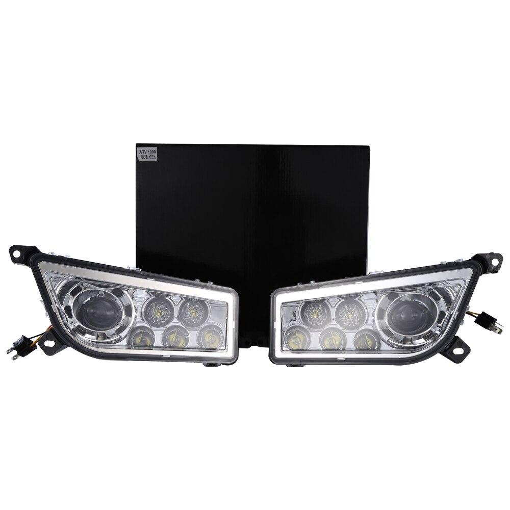 Пара lantsun ATV RZR1000 2014 2017 POLARIS RZR 1000 XP 900 ATV Chrome светодио дный фары DRL Conversion Kit авто товары