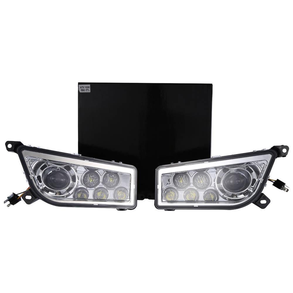 Pair lantsun ATV-RZR1000 2014-2017 POLARIS RZR 1000 XP 900 ATV Chrome LED Headlights DRL Conversion Kit