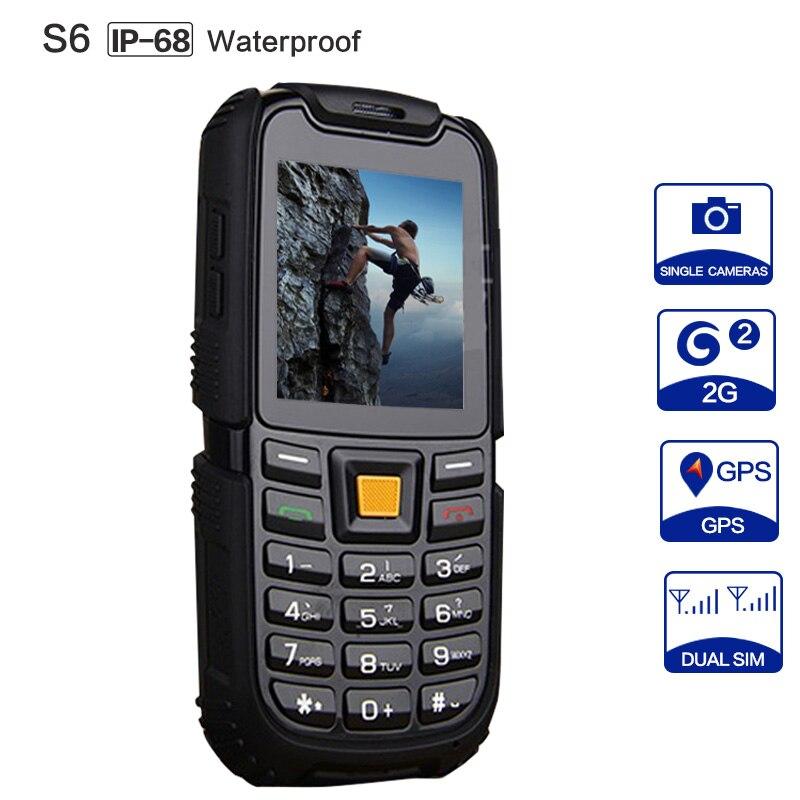 JEASUNG S6 IP67 Étanche Téléphone 2500 mAh Batterie Longue Attente Son Fort Antichoc Extérieure Téléphone Vieil Homme Aîné Téléphone Russe