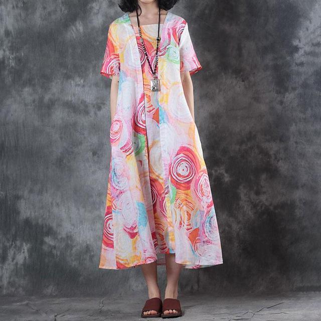 8fe59b66510 BUYKUD Vintage Women Maxi Printed Dress 2018 New Square collar Short Sleeve  Long linen Dress Casual Irregular Loose Plus Dress